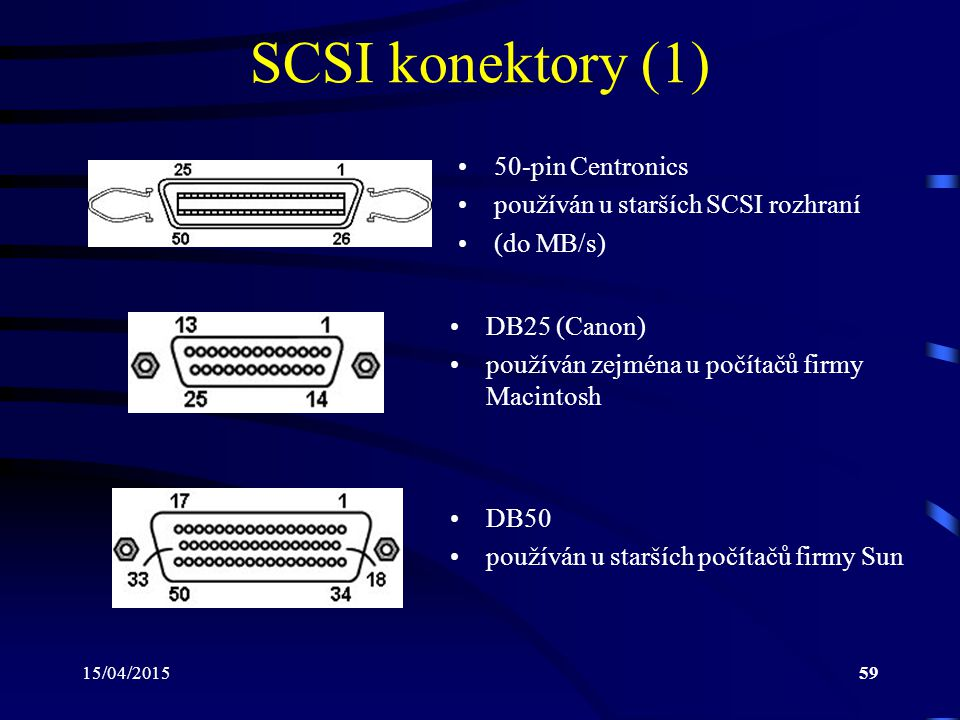 SCSI konektory (1) 50-pin Centronics používán u starších SCSI rozhraní