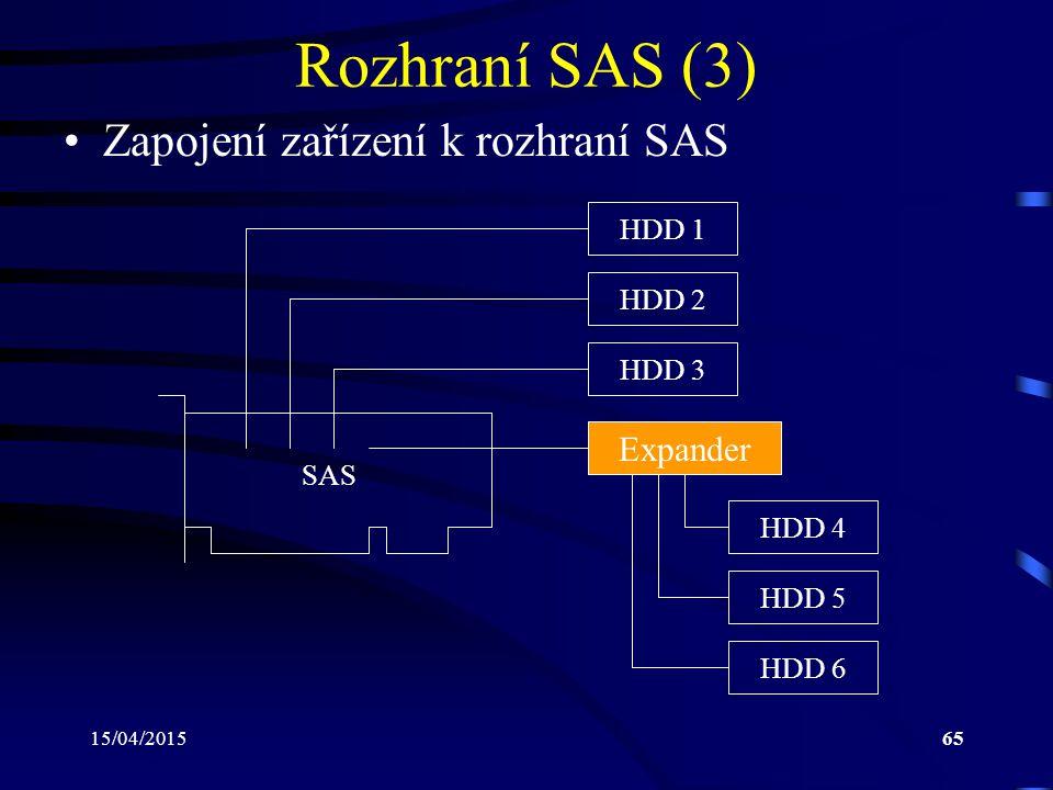 Rozhraní SAS (3) Zapojení zařízení k rozhraní SAS Expander HDD 1 HDD 2