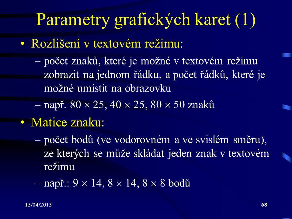 Parametry grafických karet (1)