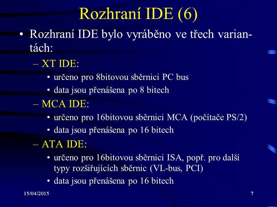 Rozhraní IDE (6) Rozhraní IDE bylo vyráběno ve třech varian-tách: