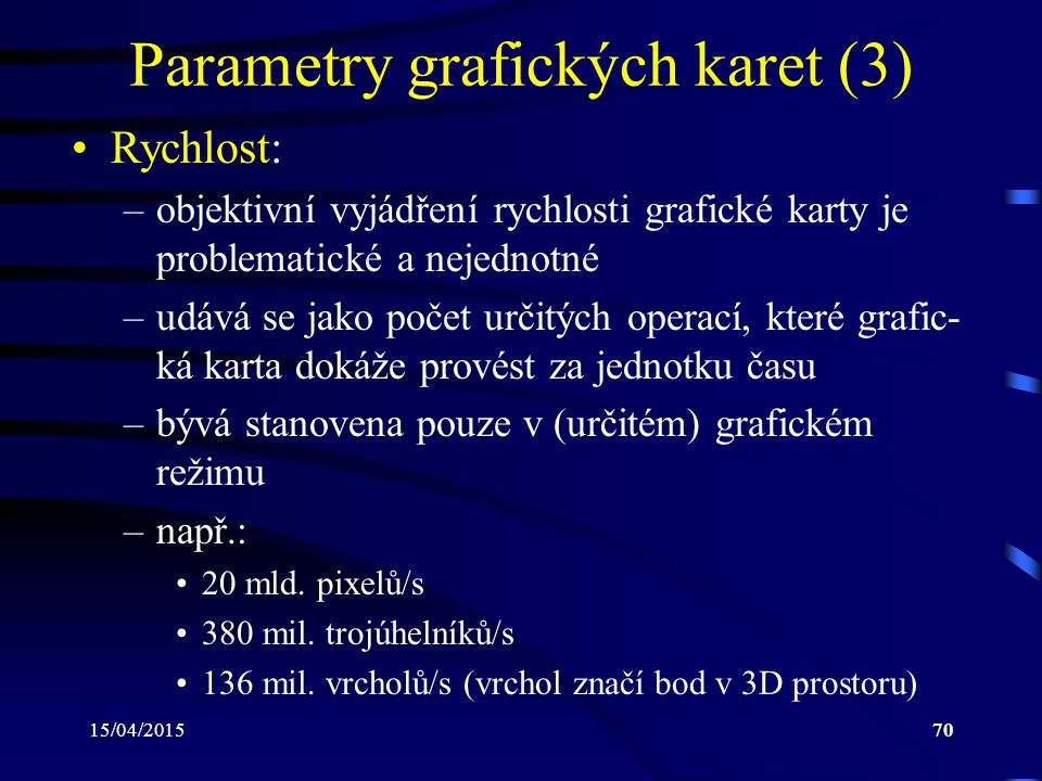 Parametry grafických karet (3)