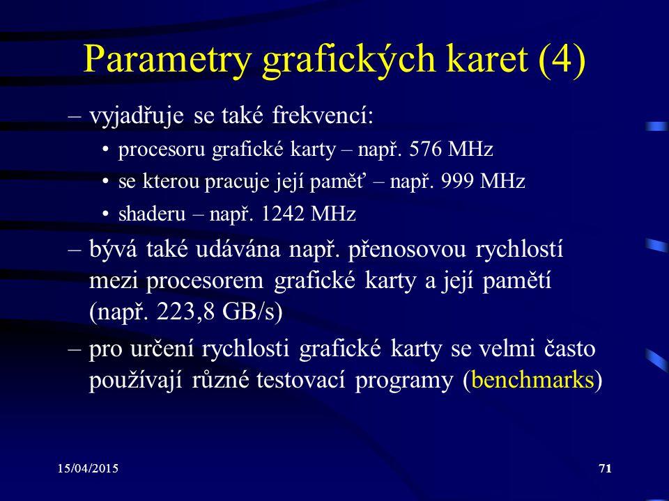 Parametry grafických karet (4)