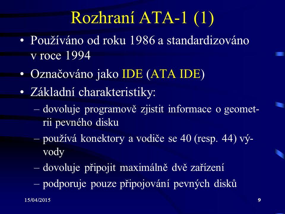 Rozhraní ATA-1 (1) Používáno od roku 1986 a standardizováno v roce 1994. Označováno jako IDE (ATA IDE)