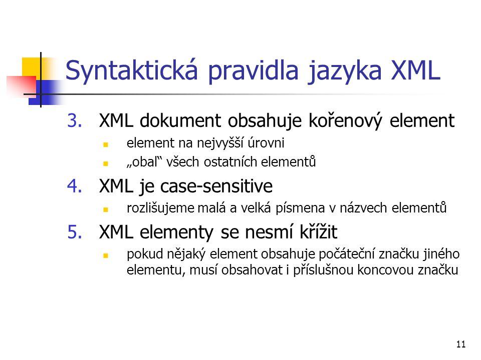 Syntaktická pravidla jazyka XML