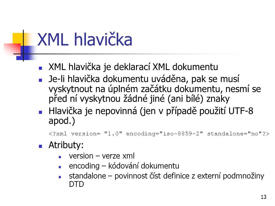 XML hlavička XML hlavička je deklarací XML dokumentu