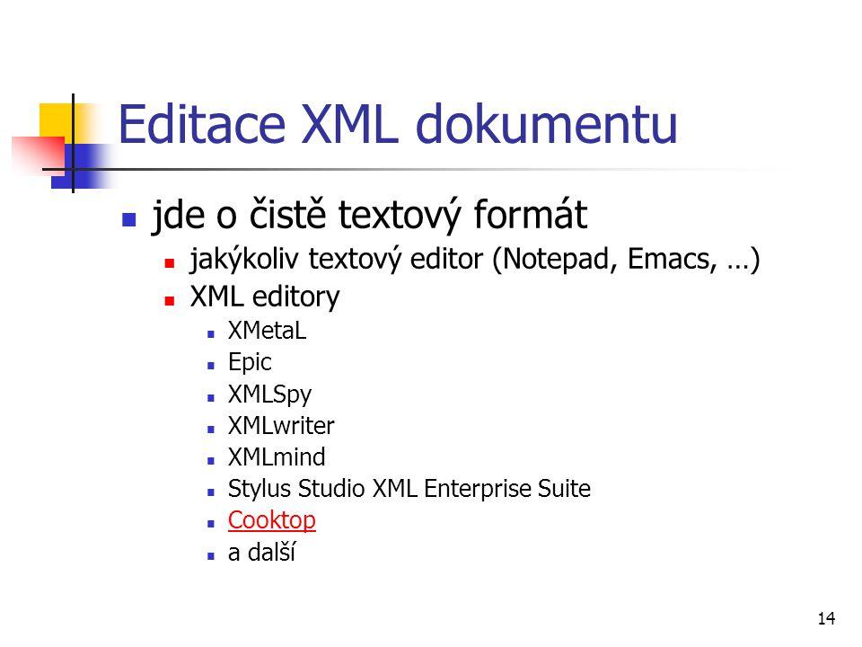 Editace XML dokumentu jde o čistě textový formát
