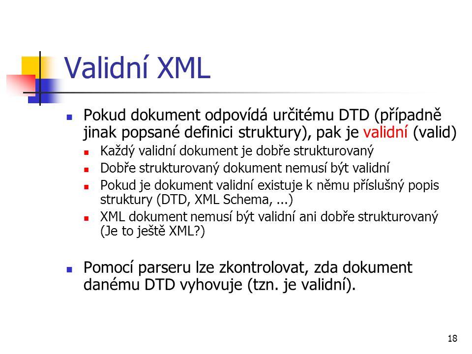 Validní XML Pokud dokument odpovídá určitému DTD (případně jinak popsané definici struktury), pak je validní (valid)