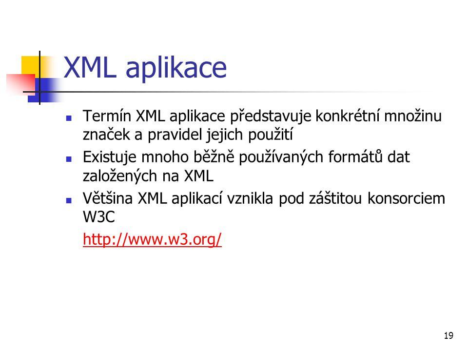 XML aplikace Termín XML aplikace představuje konkrétní množinu značek a pravidel jejich použití.