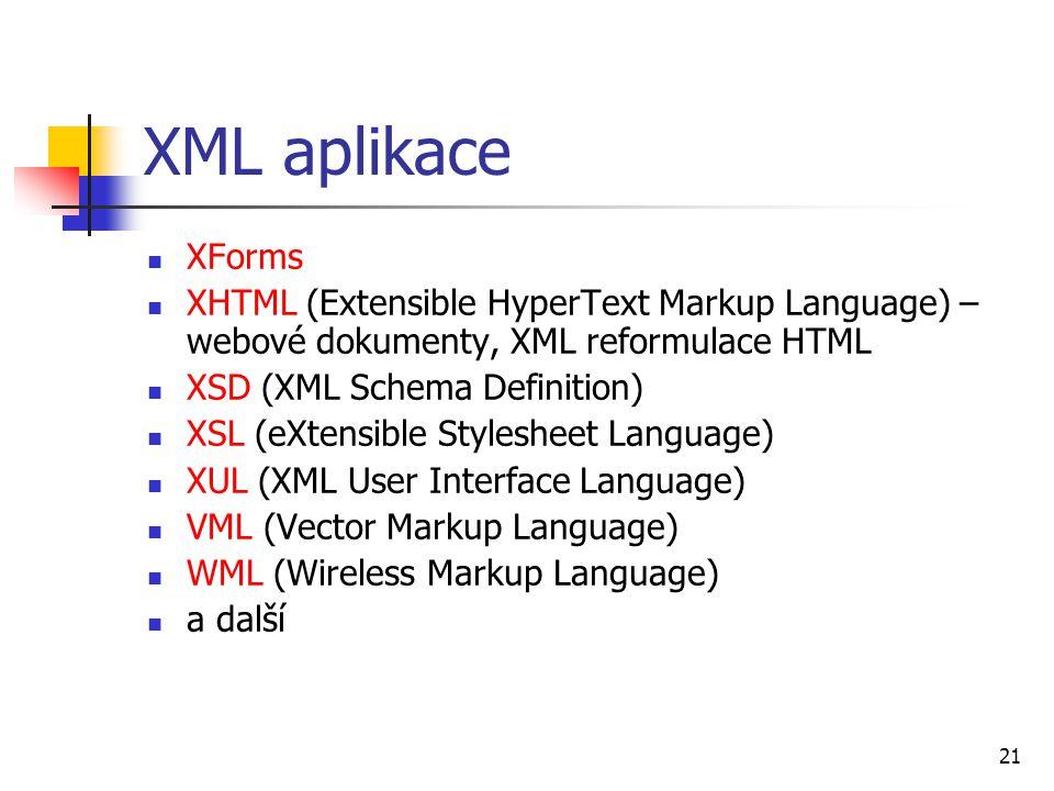 XML aplikace XForms. XHTML (Extensible HyperText Markup Language) – webové dokumenty, XML reformulace HTML.
