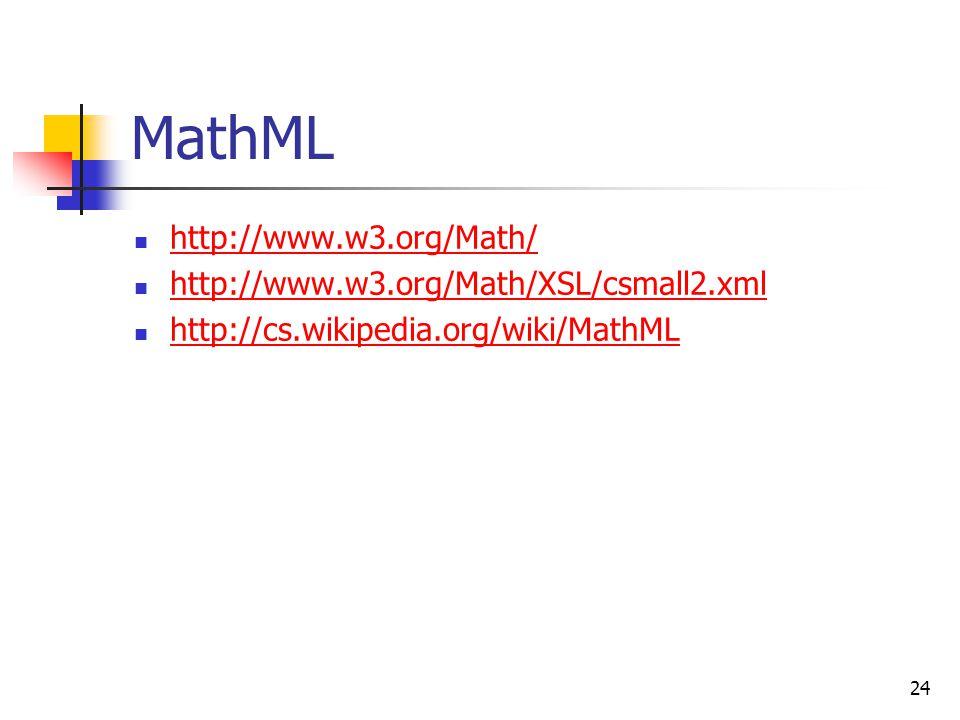 MathML http://www.w3.org/Math/ http://www.w3.org/Math/XSL/csmall2.xml