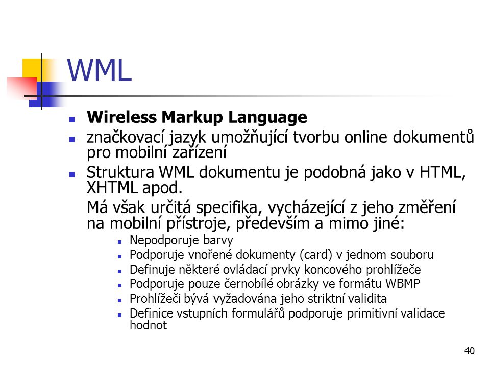 WML Wireless Markup Language