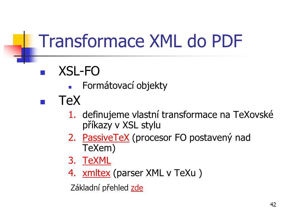 Transformace XML do PDF