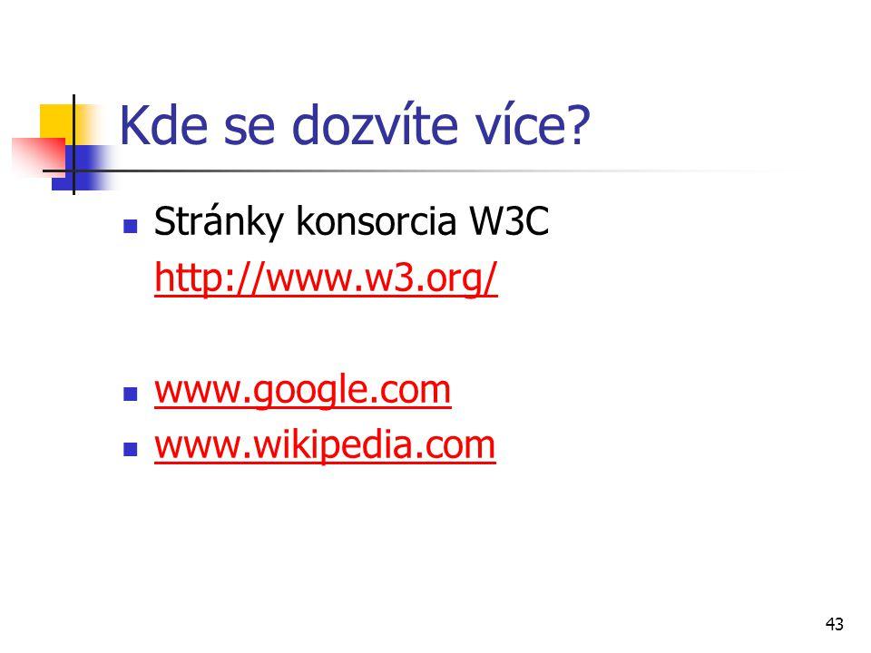 Kde se dozvíte více Stránky konsorcia W3C http://www.w3.org/