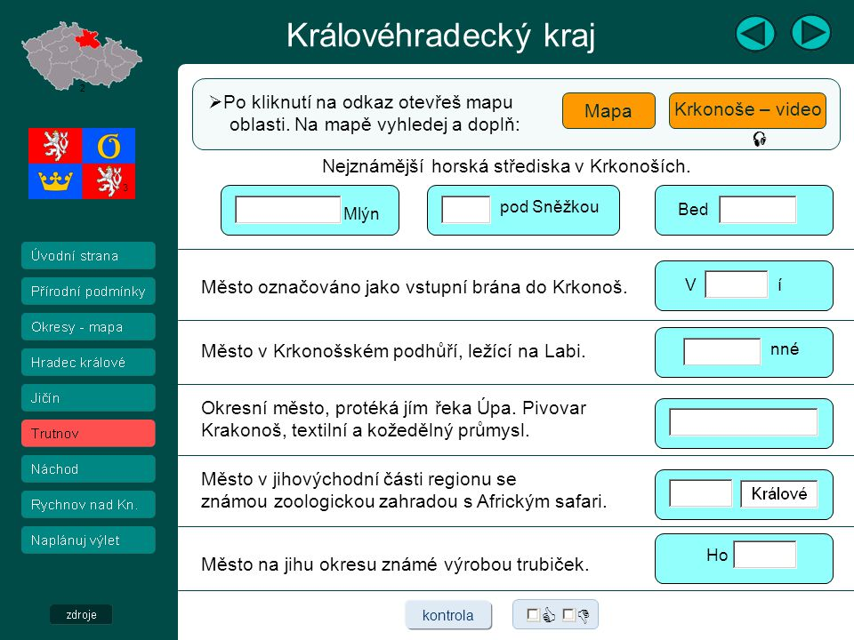 Královéhradecký kraj    Po kliknutí na odkaz otevřeš mapu Mapa
