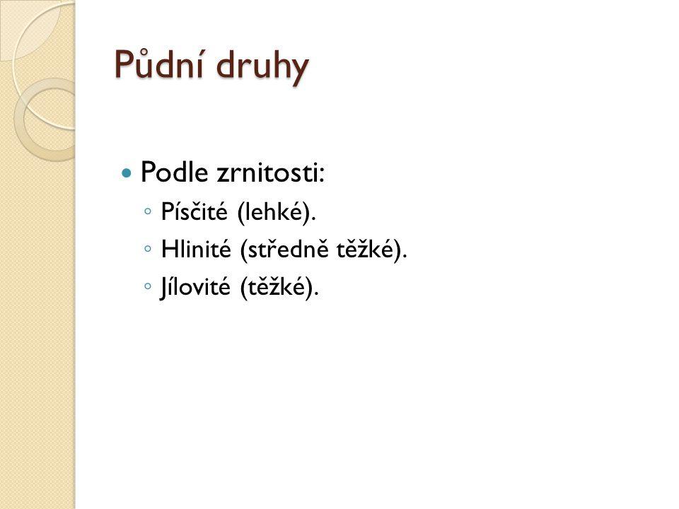 Půdní druhy Podle zrnitosti: Písčité (lehké). Hlinité (středně těžké).