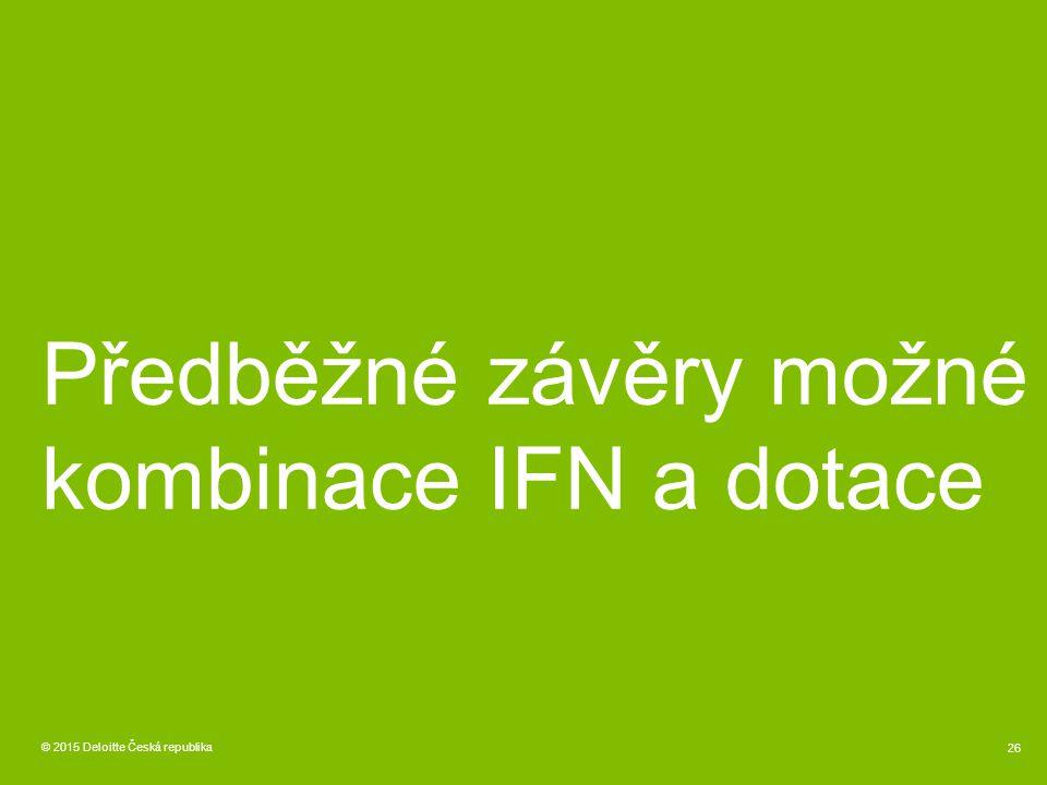 Předběžné závěry možné kombinace IFN a dotace