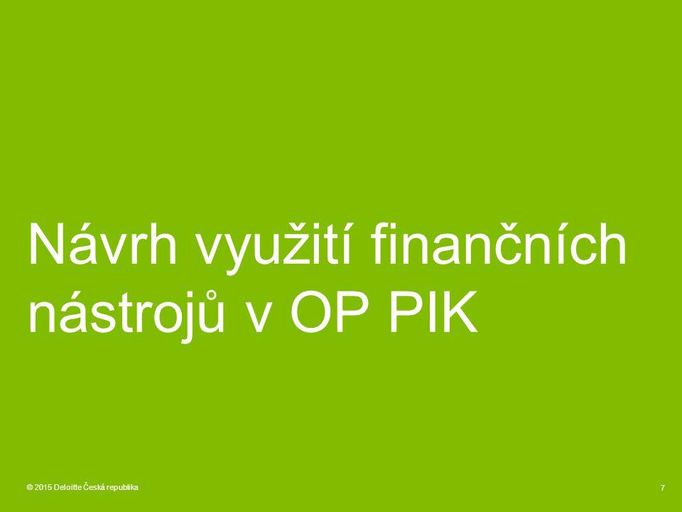 Návrh využití finančních nástrojů v OP PIK