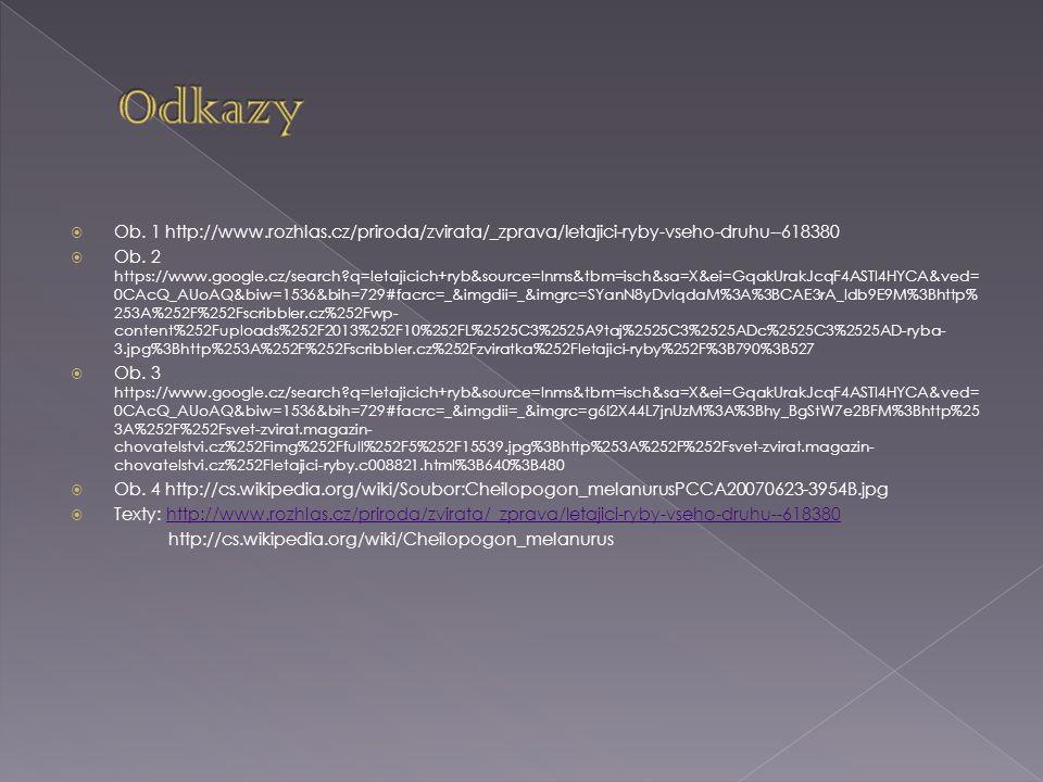 Odkazy Ob. 1 http://www.rozhlas.cz/priroda/zvirata/_zprava/letajici-ryby-vseho-druhu--618380.