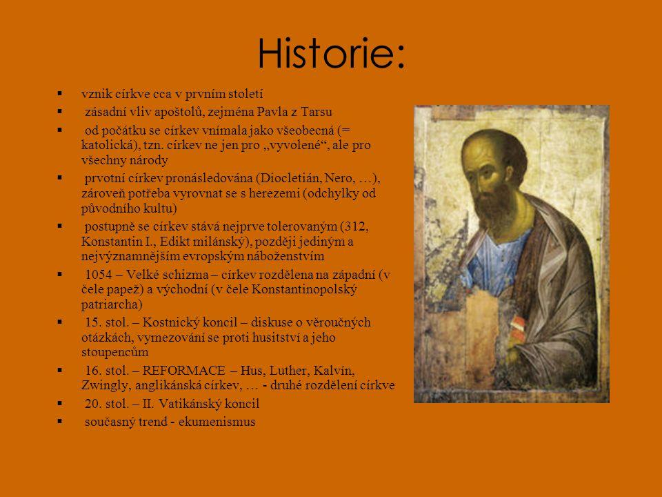 Historie: vznik církve cca v prvním století