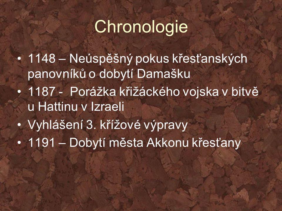 Chronologie 1148 – Neúspěšný pokus křesťanských panovníků o dobytí Damašku. 1187 - Porážka křižáckého vojska v bitvě u Hattinu v Izraeli.