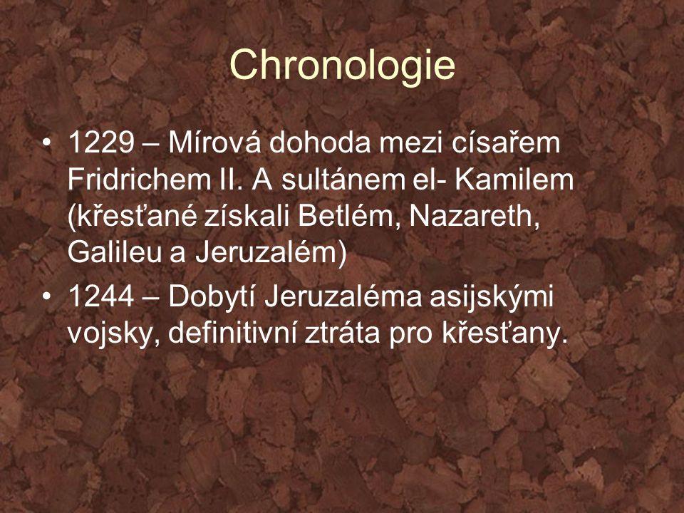 Chronologie 1229 – Mírová dohoda mezi císařem Fridrichem II. A sultánem el- Kamilem (křesťané získali Betlém, Nazareth, Galileu a Jeruzalém)