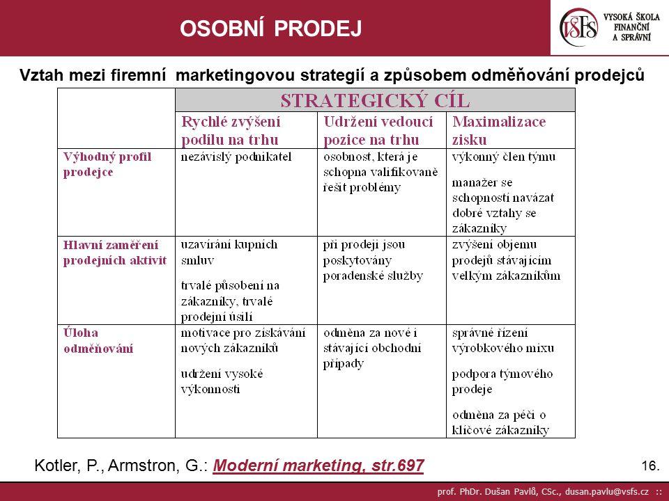 OSOBNÍ PRODEJ Vztah mezi firemní marketingovou strategií a způsobem odměňování prodejců. Kotler, P., Armstron, G.: Moderní marketing, str.697.