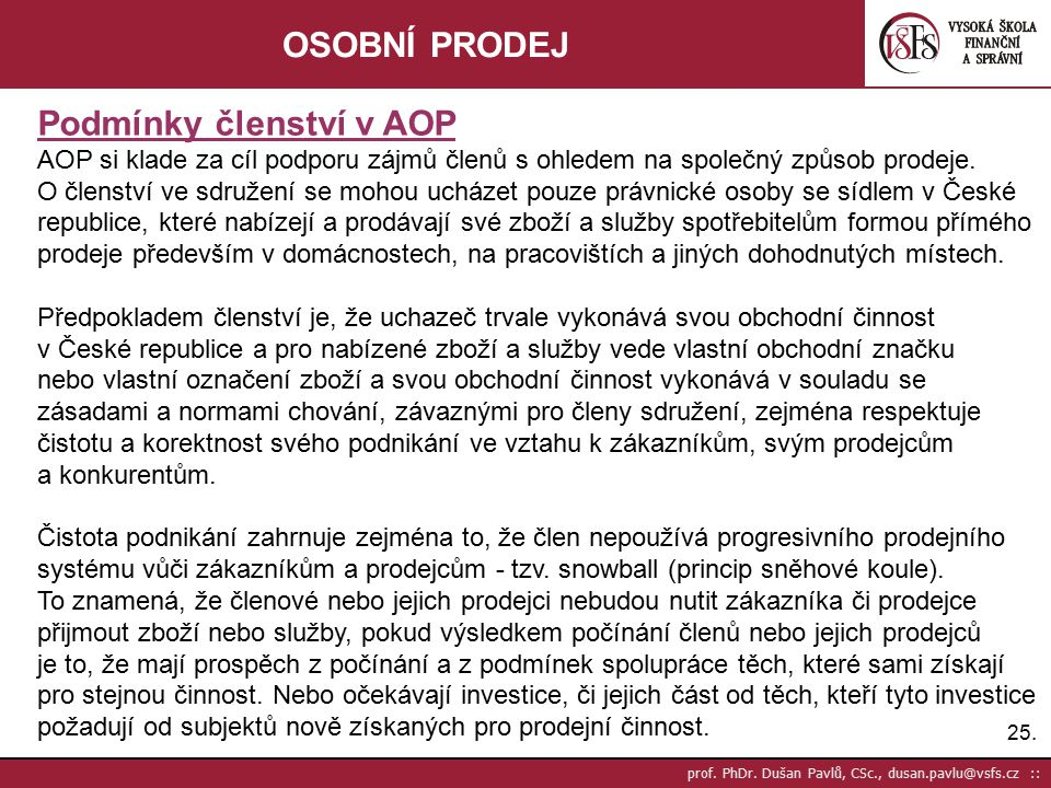 Podmínky členství v AOP