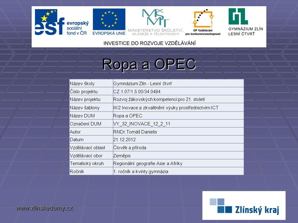 Ropa a OPEC www.zlinskedumy.cz Název školy