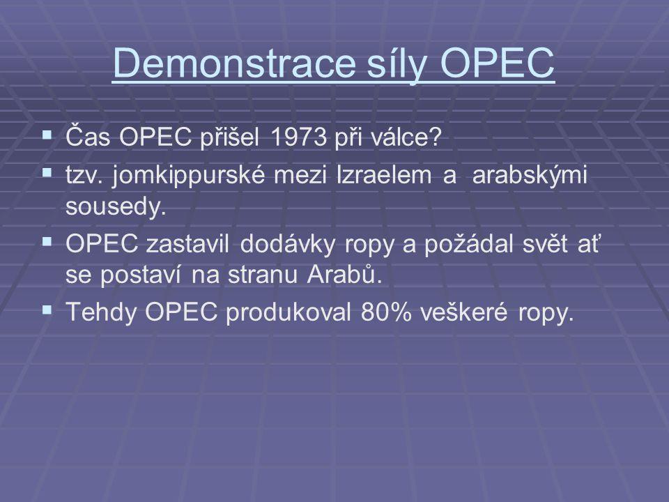 Demonstrace síly OPEC Čas OPEC přišel 1973 při válce