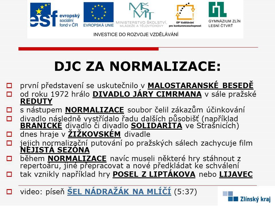 DJC ZA NORMALIZACE: první představení se uskutečnilo v MALOSTARANSKÉ BESEDĚ. od roku 1972 hrálo DIVADLO JÁRY CIMRMANA v sále pražské REDUTY.