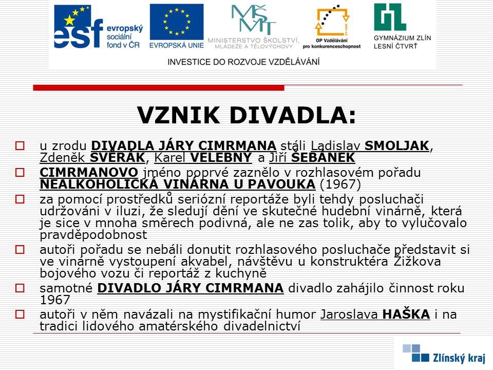 VZNIK DIVADLA: u zrodu DIVADLA JÁRY CIMRMANA stáli Ladislav SMOLJAK, Zdeněk SVĚRÁK, Karel VELEBNÝ a Jiří ŠEBÁNEK.