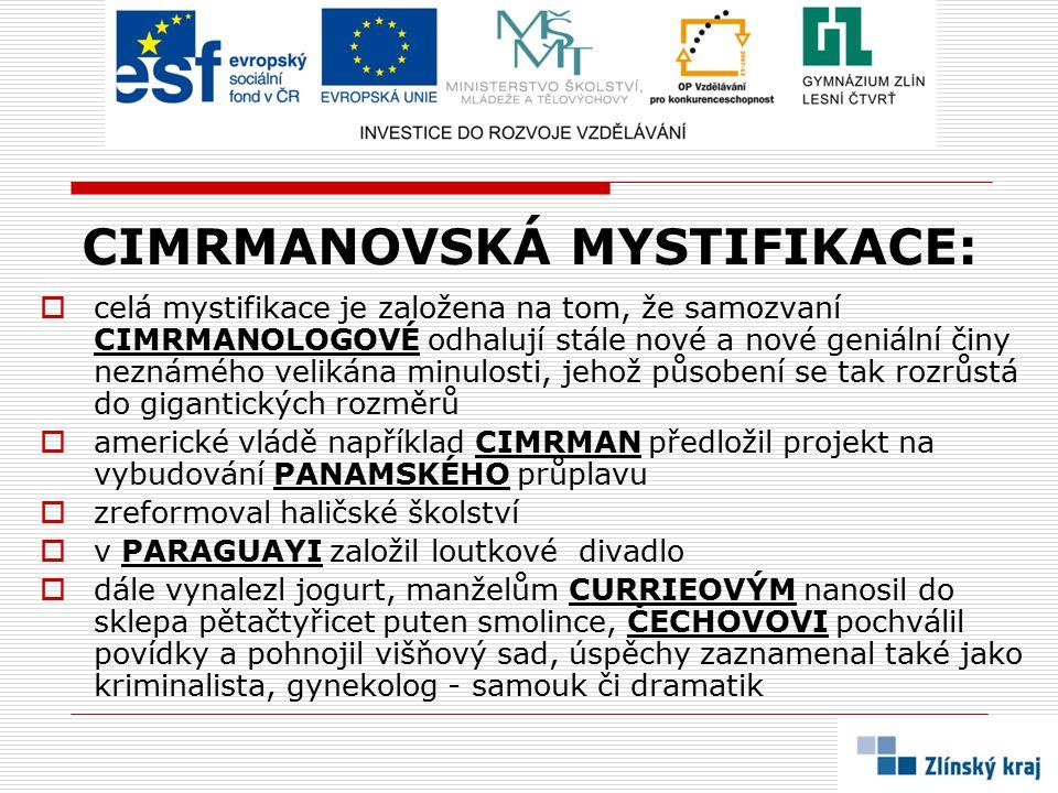 CIMRMANOVSKÁ MYSTIFIKACE: