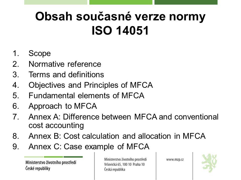 Obsah současné verze normy ISO 14051