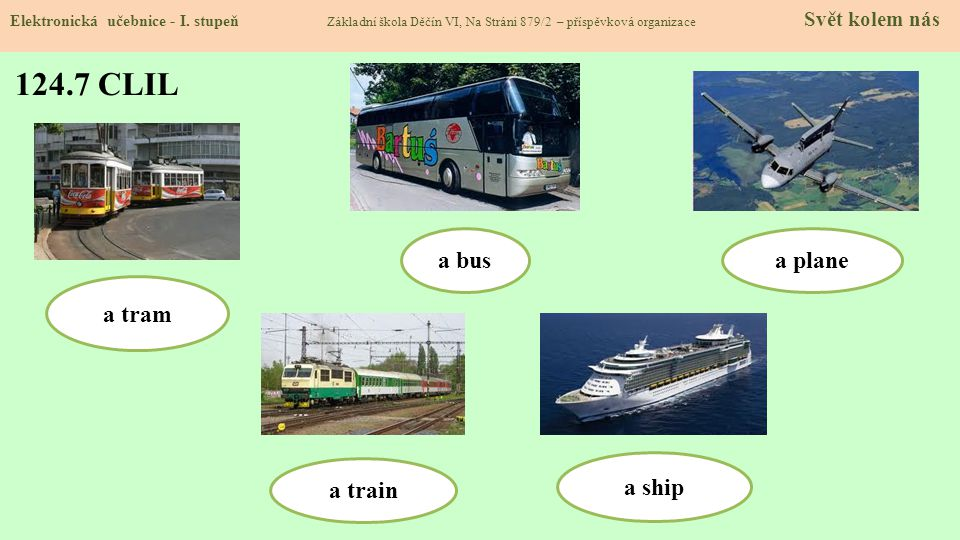 124.7 CLIL a bus a plane a tram a train a ship
