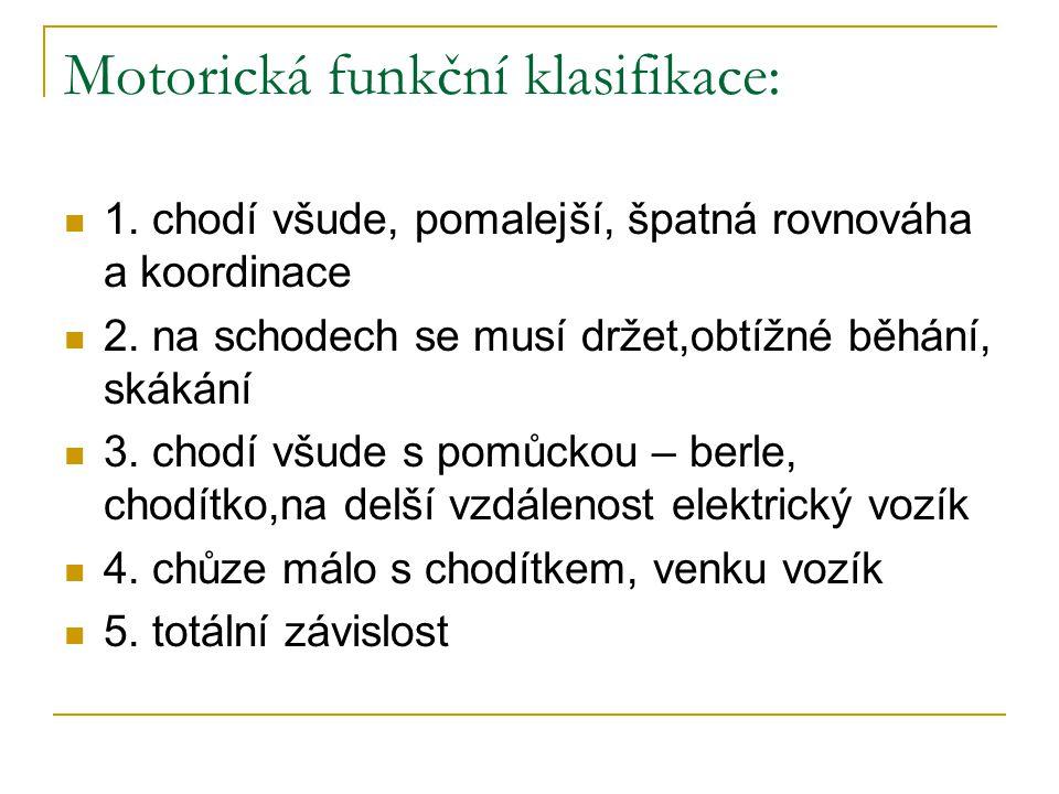 Motorická funkční klasifikace: