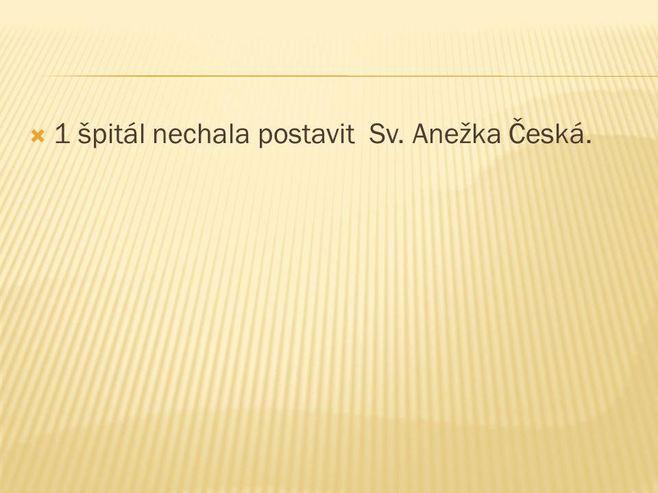 1 špitál nechala postavit Sv. Anežka Česká.