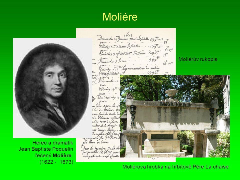 Moliére Moliérův rukopis Herec a dramatik Jean Baptiste Poquelin
