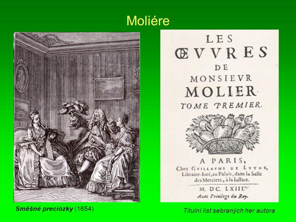 Moliére Směšné preciózky (1654) Titulní list sebraných her autora