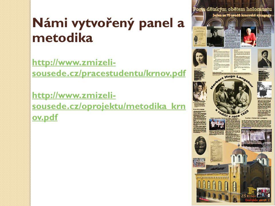 Námi vytvořený panel a metodika