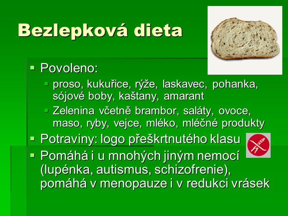 Bezlepková dieta Povoleno: Potraviny: logo přeškrtnutého klasu