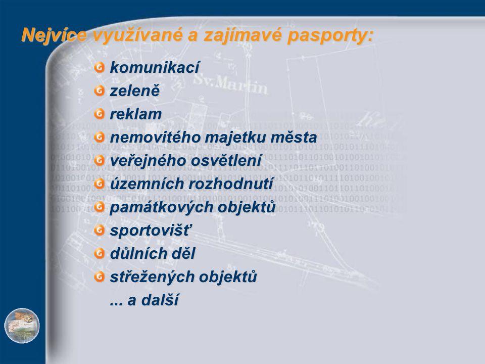 Nejvíce využívané a zajímavé pasporty:
