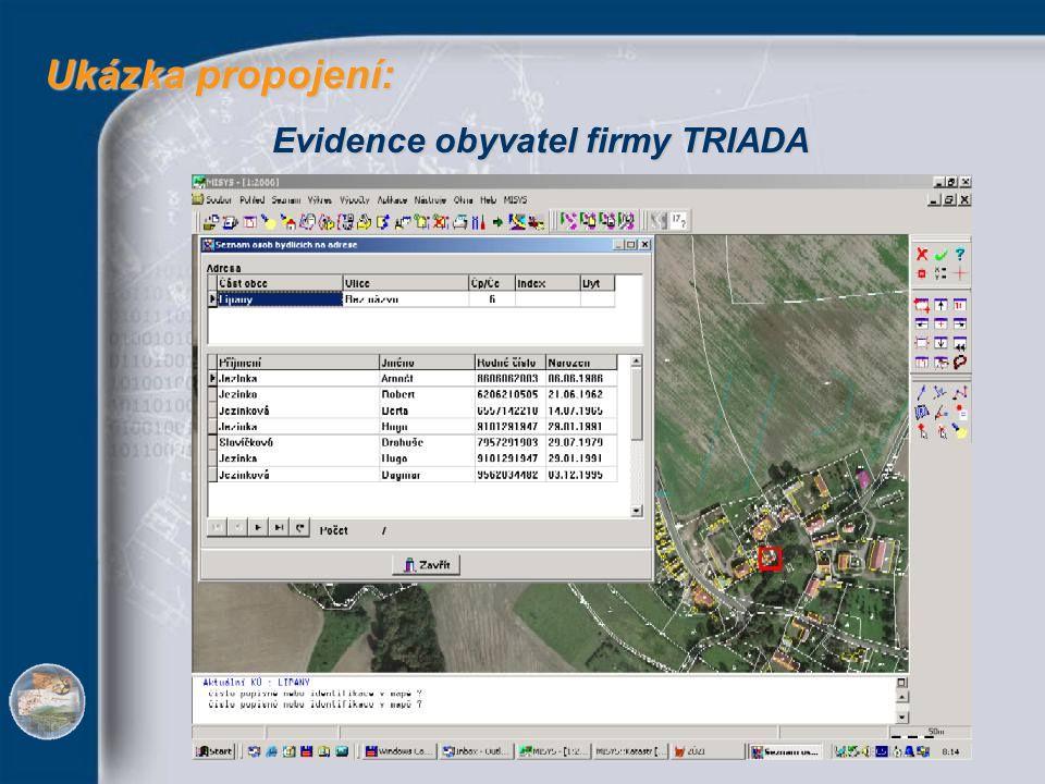 Ukázka propojení: Evidence obyvatel firmy TRIADA
