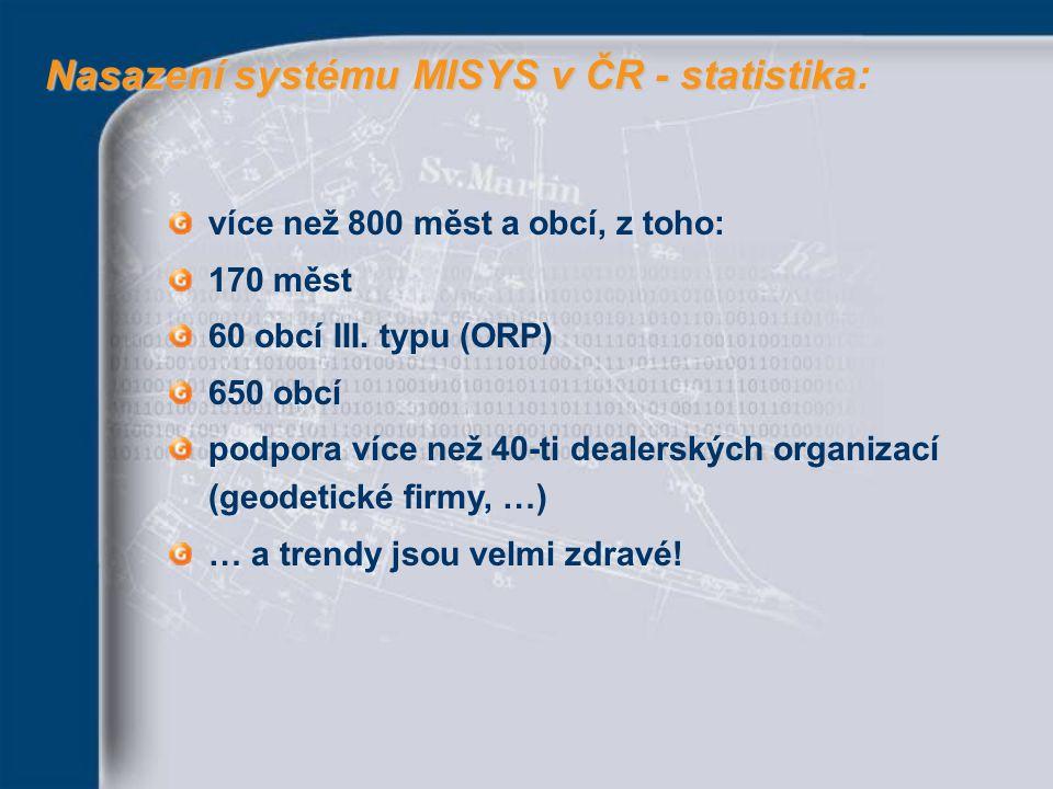 Nasazení systému MISYS v ČR - statistika: