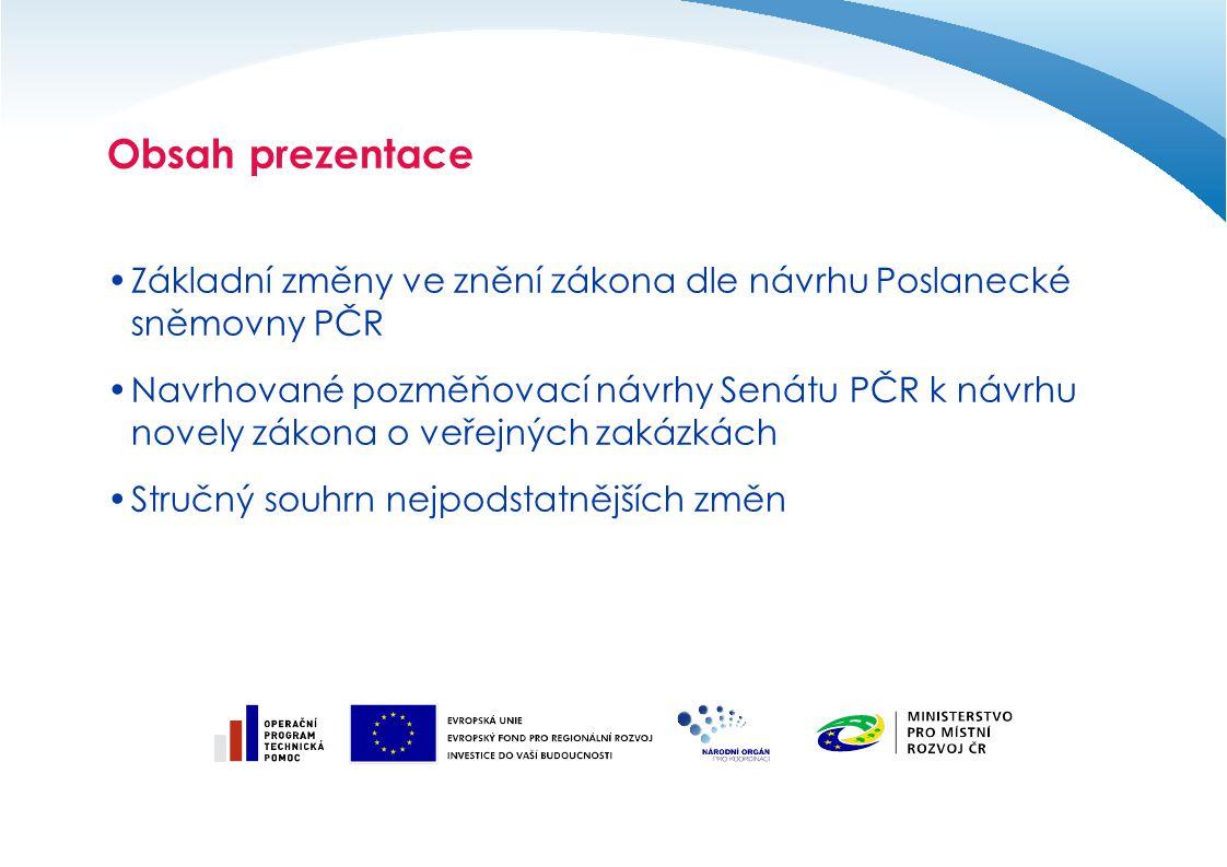 Obsah prezentace Základní změny ve znění zákona dle návrhu Poslanecké sněmovny PČR.