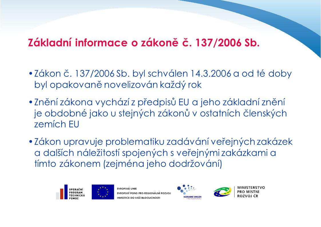 Základní informace o zákoně č. 137/2006 Sb.