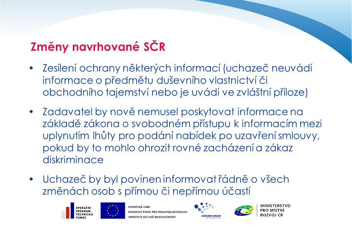 Změny navrhované SČR