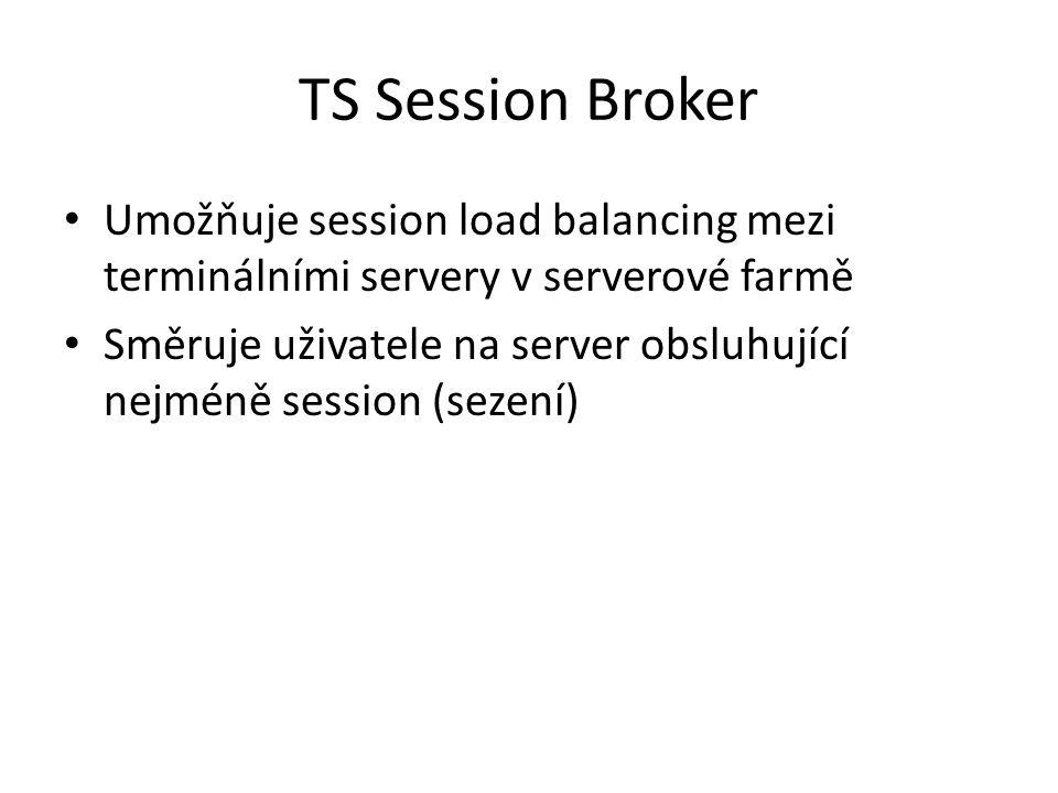 TS Session Broker Umožňuje session load balancing mezi terminálními servery v serverové farmě.