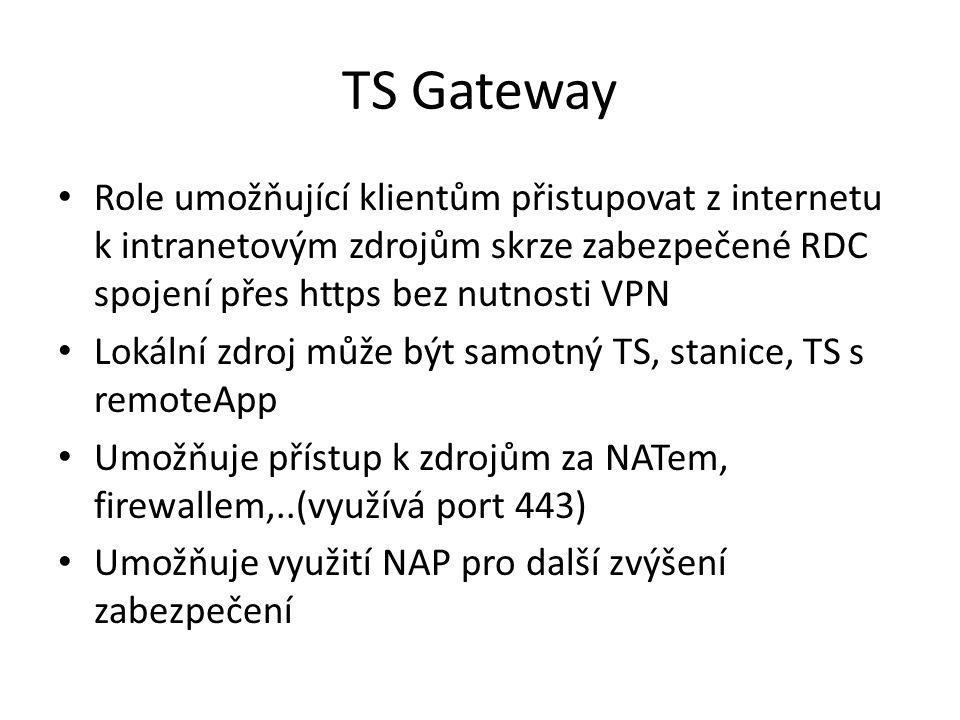 TS Gateway Role umožňující klientům přistupovat z internetu k intranetovým zdrojům skrze zabezpečené RDC spojení přes https bez nutnosti VPN.