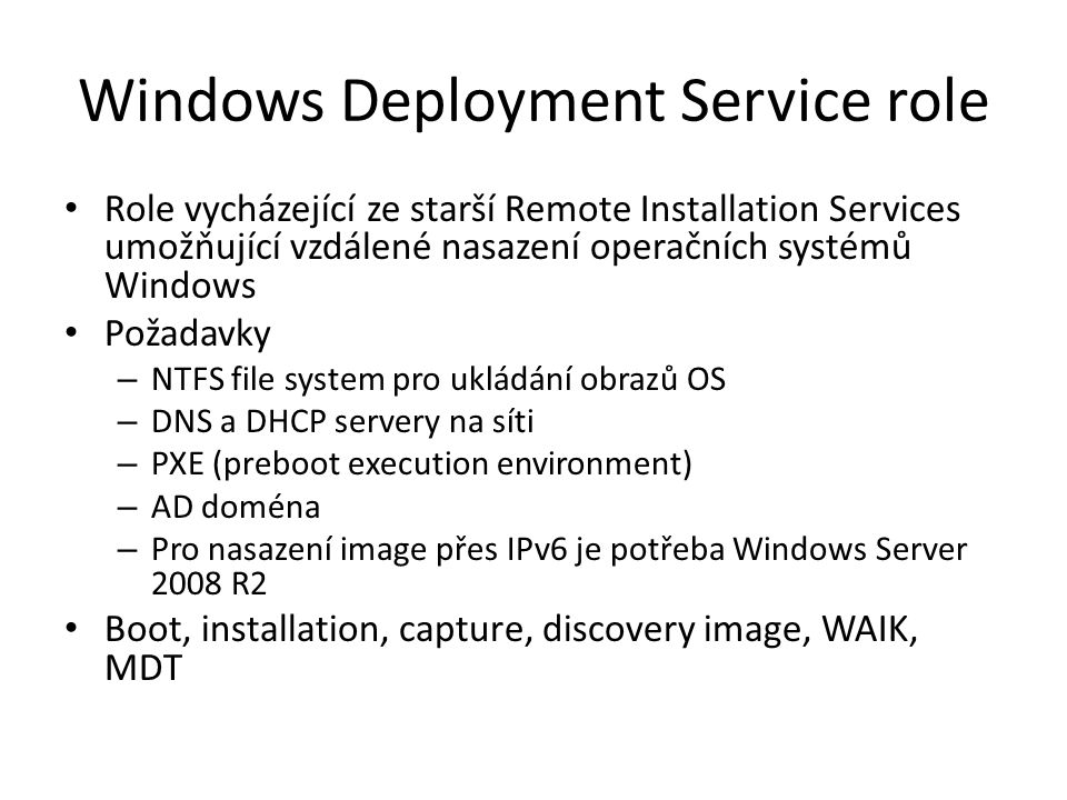 Windows Deployment Service role