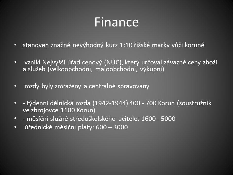 Finance stanoven značně nevýhodný kurz 1:10 říšské marky vůči koruně